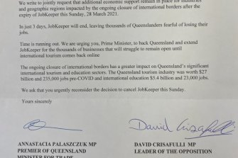 Premier Annastacia Palaszczuk and Opposition Leader David Crisafulli co-signed a letter urging the federal government to extend JobKeeper beyond March 28.