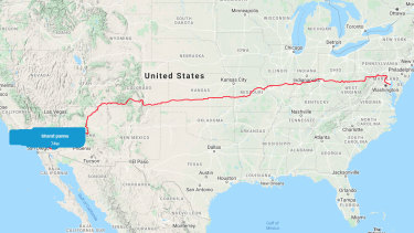 The course for the Virtual Race Across America from California to Maryland.