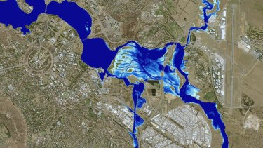 The extent of a one-in-100-year flood in Canberra, where flooding could reach the back doors of homes in Narrabundah.