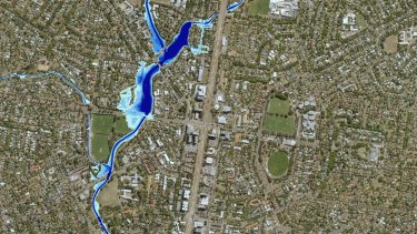 The new flood map showing the extent of a one-in-100-year flood in O'Connor and Lyneham, including across Macarthur Avenue.