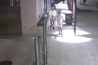 CCTV released by police following the Scarborough sexual assault. One man is washing his hands while the other is buttoning up his shirt after exiting the toilet block.