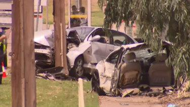 The scene of a horrific three-car crash in Rowville.