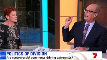 David Koch asking One Nation leader Pauline Hanson about the Christchurch shooting on Sunrise.