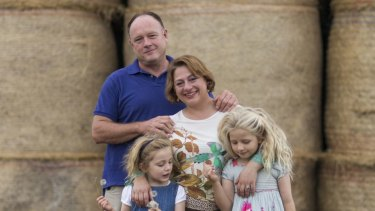 Sophie Mirabella with husband Greg and their daughters Kitty, 5, and Alexandra, 7, in 2013.