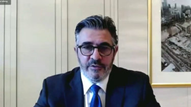 Crown director Andrew Demetriou gives evidence to the NSW casino inquiry on Monday.