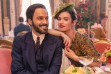 Lily James as Linda Radlett and Assaad Bouab as Fabrice De Sauveterre in The Pursuit of Love.