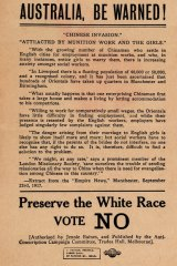 An anti-conscription poster from World War I points to the dangers of race mixing should Australia follow Britain into conscription.