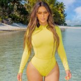 Kim Kardashian West has  adopted a new swimwear style.