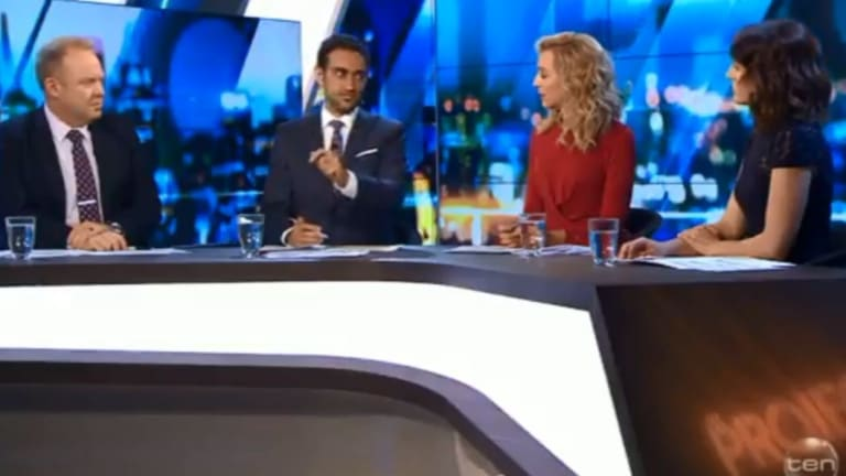Waleed Aly (centre) explaining the Greens' universal basic income idea to The Project panel.