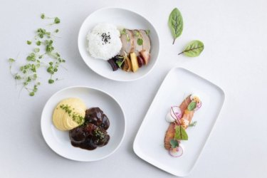 Finnair Kitchen's first main courses on the ground, for 12.90 euros ($21.40) each, comprise beef with teriyaki-radish sauce served with grilled spring onion and rice or smoked arctic char with chantarelle risotto.