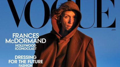 A brown hoodie high fashion? On Frances McDormand, yes