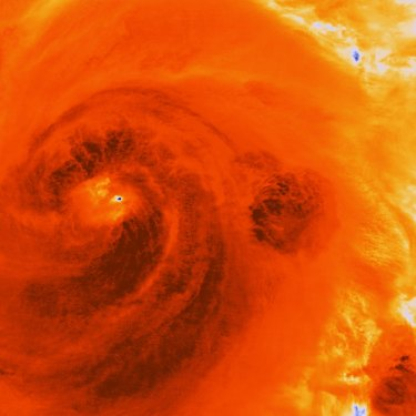 In this infrared image, dark areas show the most intense energy swirling through Hurricane Sandy over Cuba in 2012.