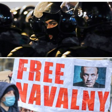 Russian police flood the streets after the jailing of Alexei Navalny prompted widespread protests.