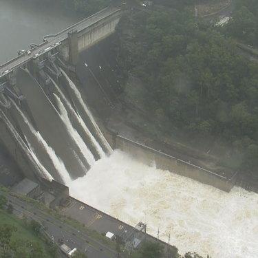 Water spills over Warragamba Dam on Sunday.