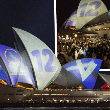 Protesters opposed the projection of material promoting The Everest racing event onto the sails of the Opera House earlier this month.