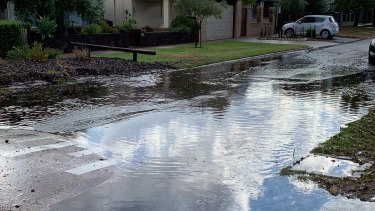 The storm caused flash flooding across Perth like this impromptu pond in Mt Lawley.