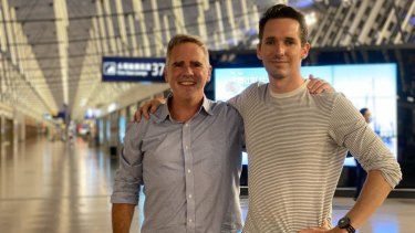 AFR journalist Mike Smith with ABC journalistBill Birtles as they prepared to leave China on Monday night.