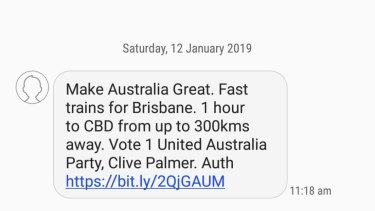 Texts from Clive Palmer have continued to be sent to Queenslanders on Saturday.