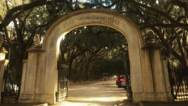 The entrance to Wormsloe Historic Site, a former plantation estate in Georgia.