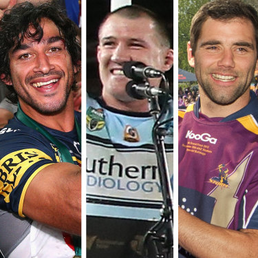 NRL premiership captains John Sutton, Johnathan Thurston, Paul Gallen, Cameron Smith and Boyd Cordner.