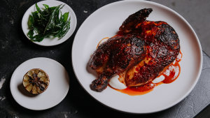 Agnes restaurant's harissa chicken with labneh and lime. The recipe is below.