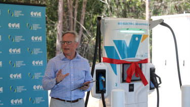 Chris Mills, chief executive of Evie Networks, at the opening of an electric vehicle charging station in Avenil.