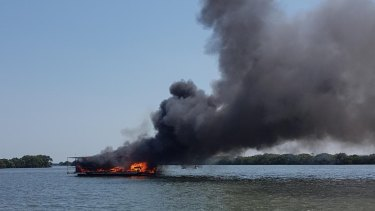 Jacobs Well house boat fire leaves man devastated after losing everything to the flames.