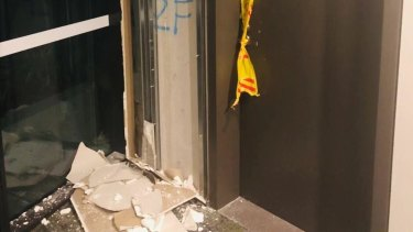 Damage from a crack in a wall inside Opal Tower at Sydney Olympic Park.