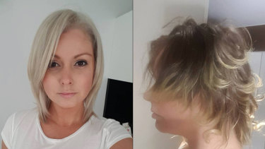 Jessica Bray (left) before the treatment and (right) how her hair looks more than a year later.