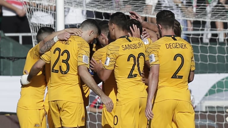 Joy – and relief – for the Socceroos as they beat Palestine.