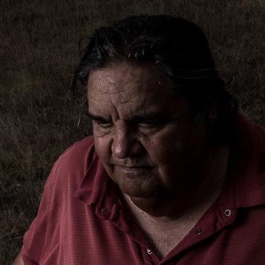 Gunditjmara elder Uncle Daryl Rose in front of the killing field known as Murderers' Flat.