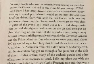 An excerpt from Dawn Fraser's autobiography, mentioning her driver Gary Merlino.