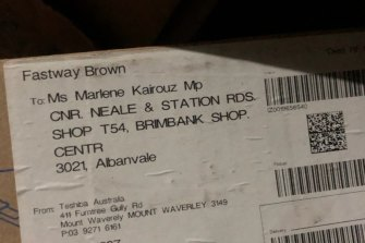 The address on the box used to house ALP documents about branch stacking shows Marlene Kairouz's electorate office.