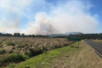 The bushfire burned near the Pacific Highway not far from Duranbah, not far from Kingscliff in northern NSW.
