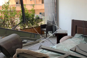 The damaged Australian embassy residence in Beirut.