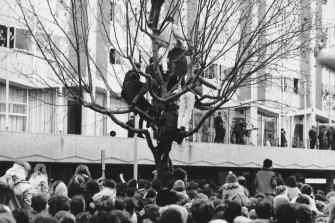 Fans wait outside the Southern Cross Hotel in Melbourne to catch a glimpse of The Beatles.