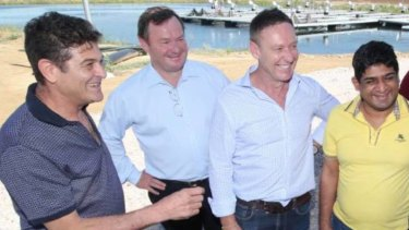 From far left: Marcello Casella, Kent Johns, Troy Stewart and the Sri Lankan foreign minister in Griffith in January 2018.