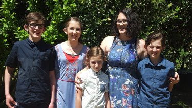 Katrina Miles with her four children.
