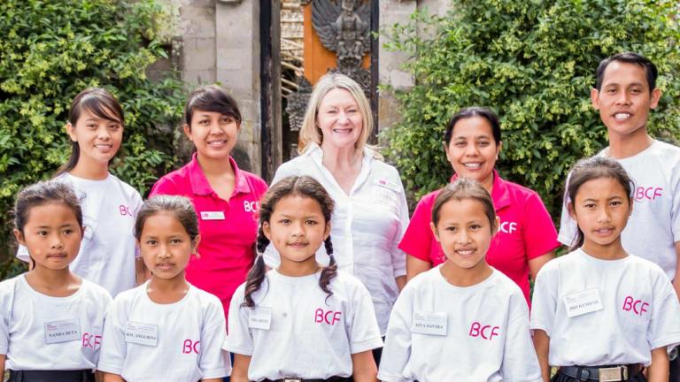 Dame Margaret Barry OAM with Balinese school children.