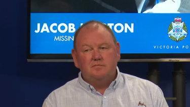 MichaelHorton, father of missing man JacobHorton, speaks at aVictoria Police press conference.