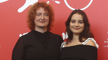 """It's wonderful if people are feeling things after this film"": Jennifer Kent (left) with star Aisling Franciosi at the world premiere of The Nightingale at the Venice Film Festival."