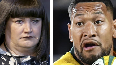 Facing off this weekend ... Rugby Australia CEO Raelene Castle and Israel Folau.