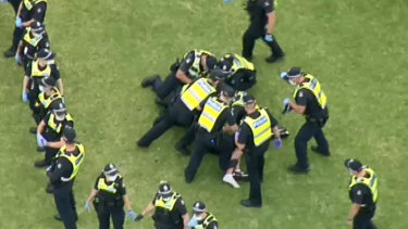 There was a large police presence at the protest in Melbourne.