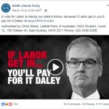 NSW Liberal Party Facebook ad.