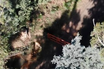 Drone footage of the state forest search for clues last week.