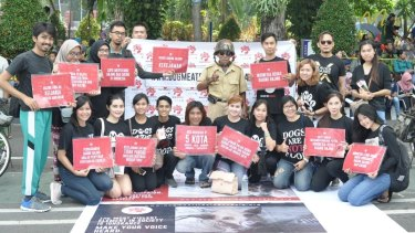 Members of theDog Meat-Free Indonesia coalition protest against the killing of dogs for meat in their country.
