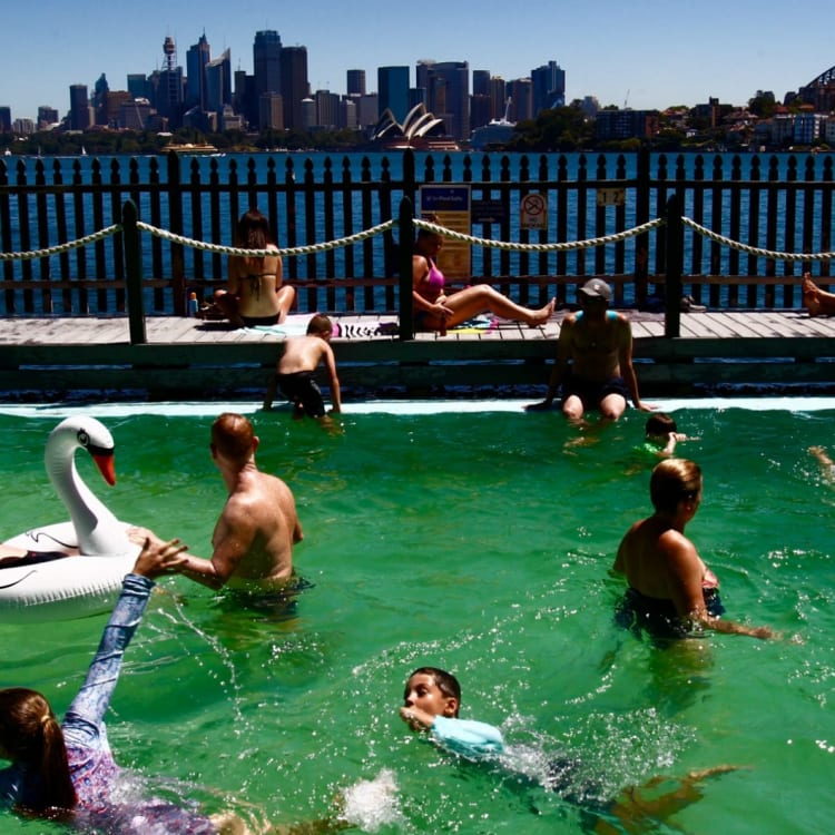 Swimmers cool off at Maccallum Pool at Cremorne Point.