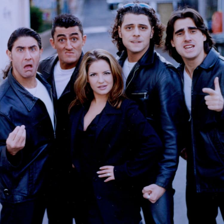 The Wog-a-Rama crew, from left,  John Barresi, Eden Gaha, Rebekah Elmaloglou, Vince Colosimo and Nick Giannopoulos in 1994.