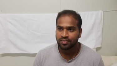 """Six years wasted"" ...  Manus Island detainee Shaminda Kanapathi on Friday."