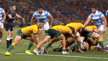 Australia using the caterpillar ruck against Argentina.